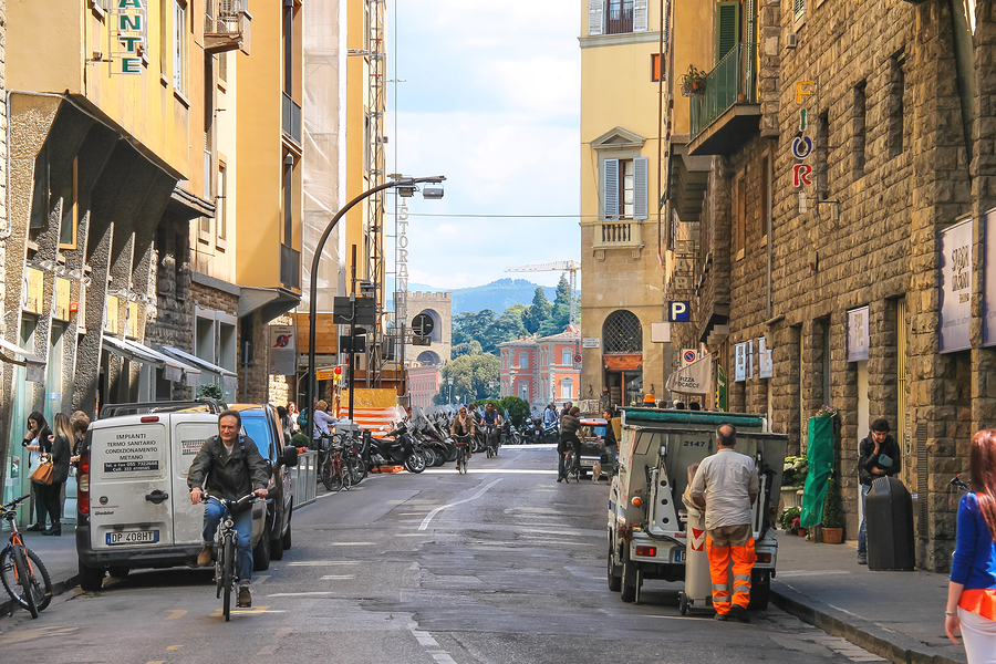 FLORENCE ITALY - MAY 08 2014: People on the street of the ancient Italian city Florence. Florence - the administrative center of the region of Tuscany. Population of more than 373000 people