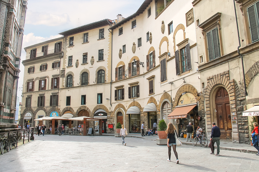 FLORENCE ITALY - MAY 08 2014: Unidentified People on the street of the ancient Italian city Florence. Florence - the administrative center of the region of Tuscany. Population of more than 373000 people