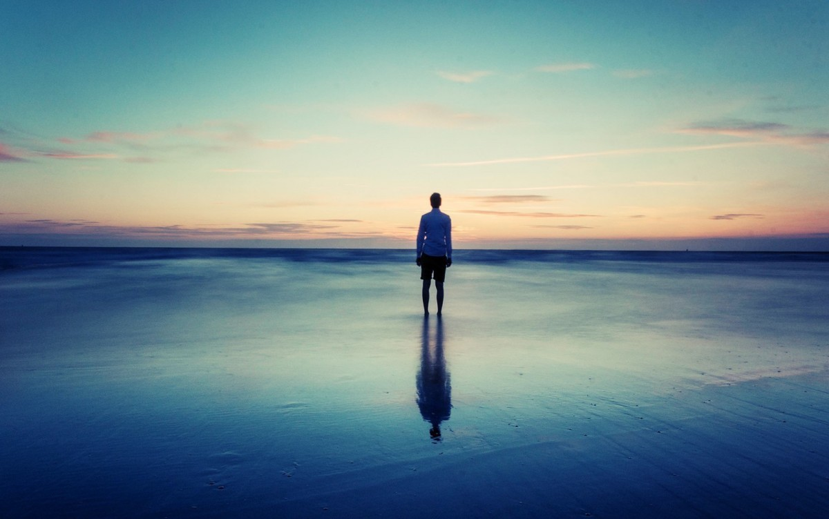 Alone at the beach sea sand man photography 1920x1200 wallpaper431046