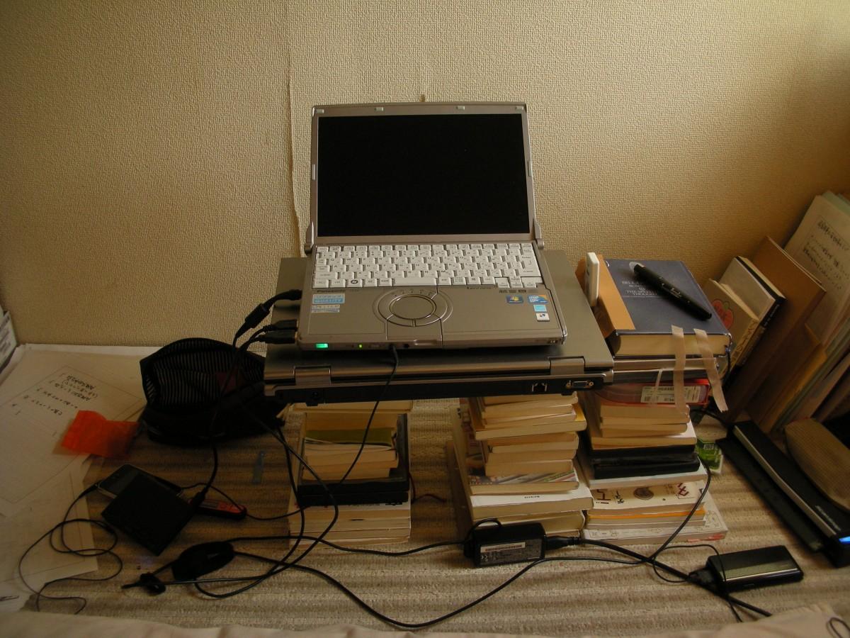 起業当初の作業台。本を積み重ねて机代わりにする。