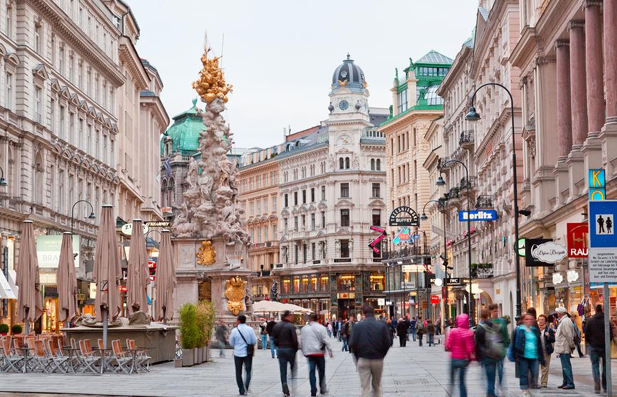 Tourists On Foot Graben Street In Vienna.