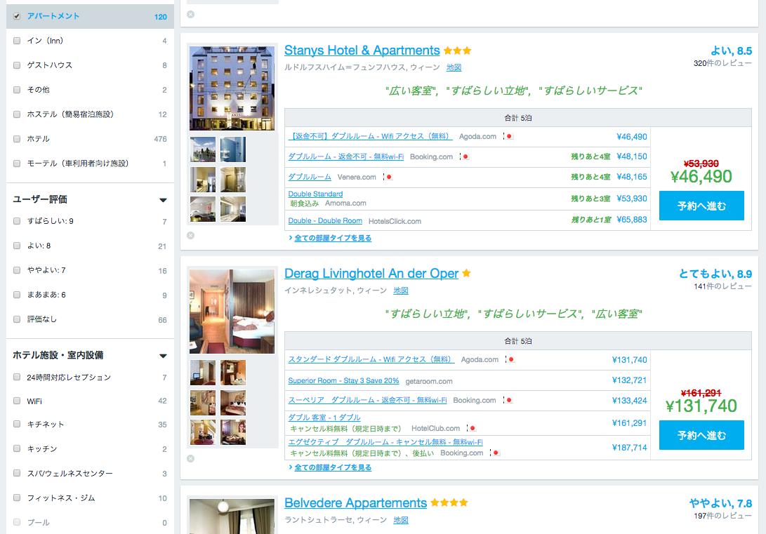 HotelsÇonbinedでウィーンのアパートを探す2