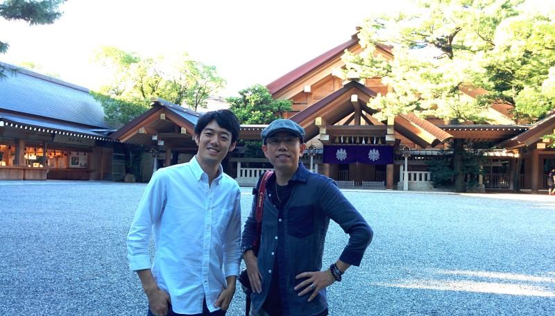 熱田神宮にて。Yさんありがとうございました!またお会いしましょう。