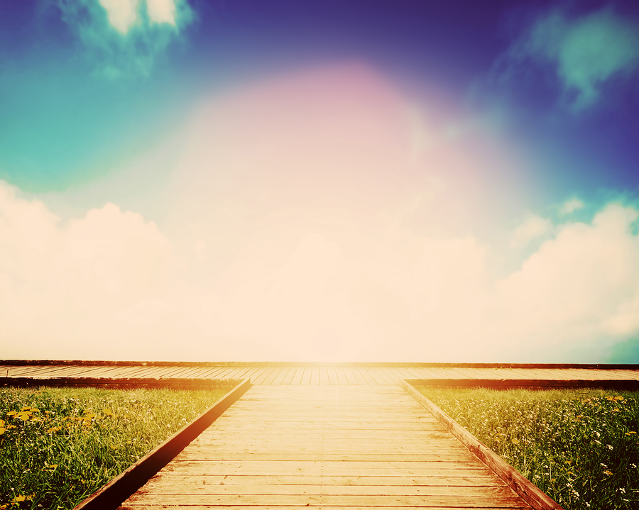 Wooden path leading to crossroads. Direction, way to choose. Con